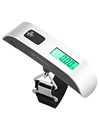 110lb/50kg Mini Digital Luggage Scale with Temperature Sensor and Backlight LCD Display Portable Balance Hanging Hook