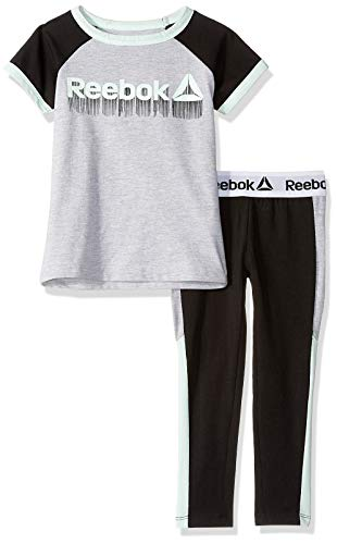 Jersey Cap Sleeve Raglan Shirt - Reebok Girls' Big Short Sleeve Printed T-Shirt and Pull-On Legging Set, Training Black, 8/10