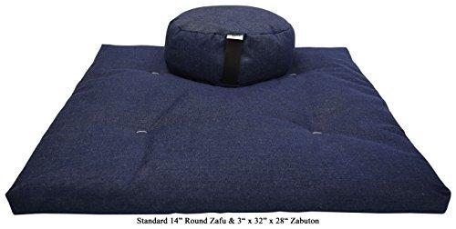 "Bean Products DENIM Round 14"" Zafu + Zabuton Meditation Cush"