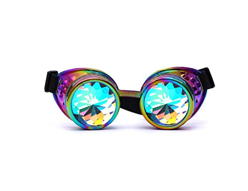 FUT ABS Rainbow Lens Glasses Costume Photo Props Vintage Steampunk Goggles Glasses Gothic Cosplay - Eyewear Costume