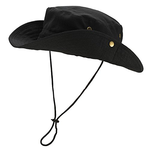 FALETO Outdoor Boonie Hat Wide Brim Breathable Safari Fishing Hats UV Protection Foldable Military Cap Black