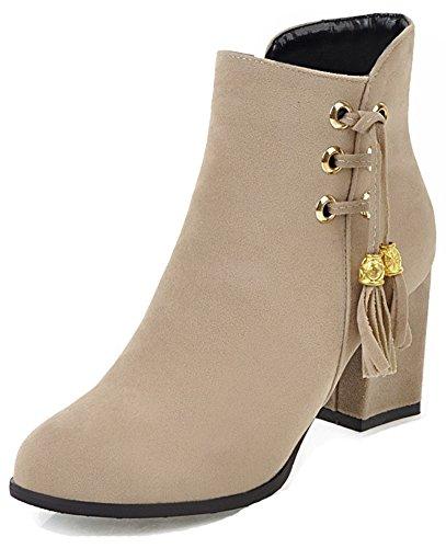 Aisun Womens Tasseled Faux Suede Inside Zip Up Almond Toe Booties Dressy Mid Block Heel Ankle Boots With Fringe Beige Czmck