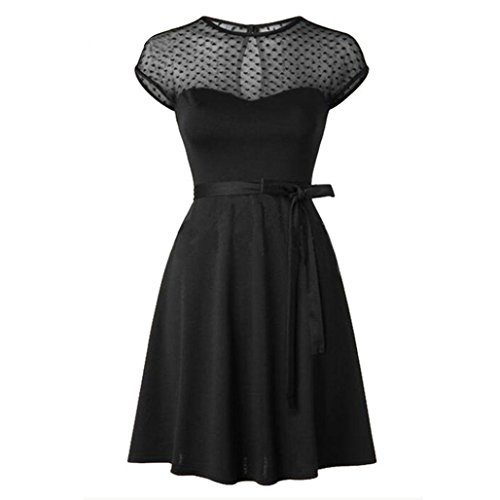 Taore Women's Classy Audrey Hepburn 1950s Vintage Rockabilly Swing Dress (S, Black) Audrey Tank