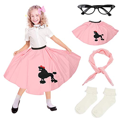 Beelittle 4 Pieces 50s Girls Costume Accessories Set - Vintage Poodle Skirt, Chiffon Scarf, Cat Eye Glasses, Bobby Socks (E-Pink)]()