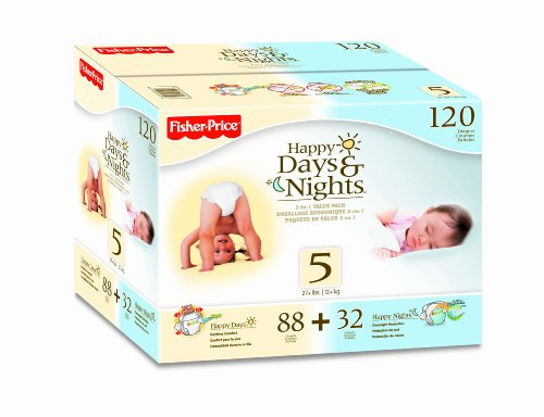 Fisher Price Happy Days and Nights Box Diapers, Size 5, 120 Count, Baby & Kids Zone