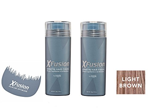 Xfusion Keratin Hair Fibers,Two Pack Value 2 x 28 gr / 0.98 oz LIGHT BROWN / FREE Hairline Optimizer ($8.00 Value) by XFusion