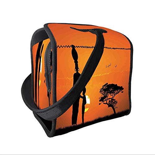 Neoprene Lunch Tote Bag with Shoulder Strap,Afro Decor,Child and Mother at Sunset Walking in Savannah Desert Dawn Kenya Nature Image,Orange Black,for boys girls and adults