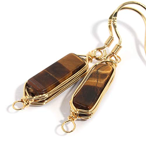 Natural Stone Wire Wrap Dangle Drop Earrings Gold Plated 925 Sterling Silver Hook/Tiger Eye 14mm ()