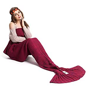 Kpblis Knitted Mermaid Blanket Tail for Kids and Adults,Super Soft and Fashion Sleeping Bags 71-35-inches(Violet)