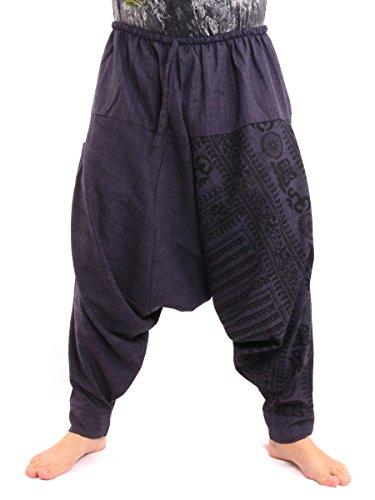 Jing Shop Aladdin Harem Drawcord Baggy Pants Traditional Print Cotton Mix Blue,Blue,One Size