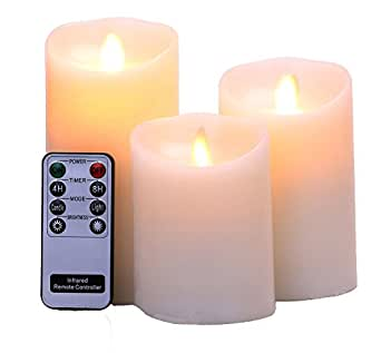 "Remote Include Set of 3 Sizes (3""Diax4"" 5"" 6""H) Flameless Pillar Candles ,Real Wax & Moving Flame Wick LED Candles with Timer, Battery Operated, Ivory"