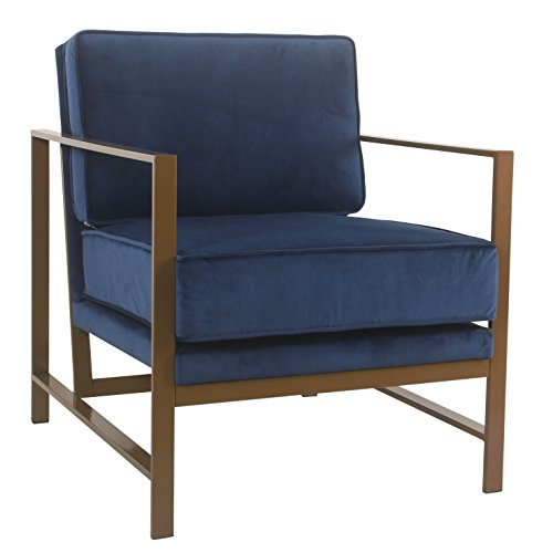 Spatial Order Hudson Modern Velvet Accent Chair with Metal Frame, Navy (Frame Chair Accent Metal)