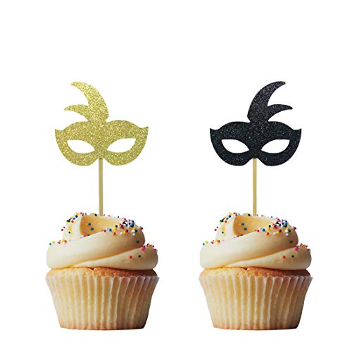 Morndew 24 PCS Gold and Black Masquerade Masks Cupcake Topper for New Year's Party Birthday Party Wedding Party Decorations -
