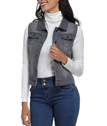 MISS MOLY Womens Denim Vest Button Up Sleeveless Washed Jean Jacket w 2 Chest Flap Pockets Gray-Black ()