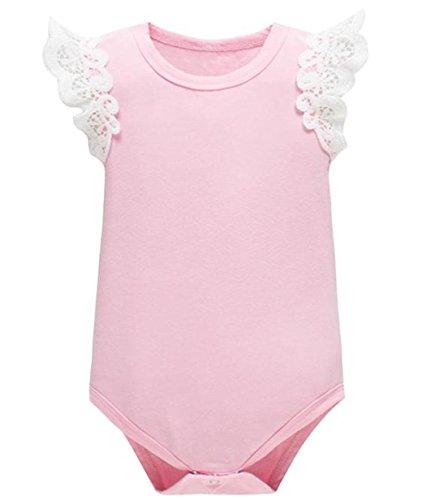 (Yatong Baby Short Sleeve Girls Bodysuit Onesies Baby Romper (6-12 Months, Pink))