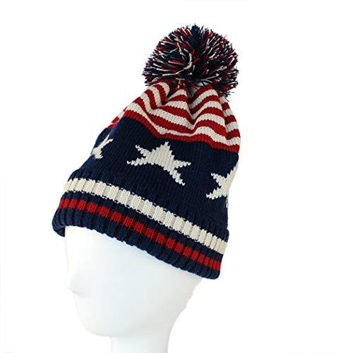 Raylans Women Men Crochet Knitted Ball Stripe Stars Winter Warm Beanie Hat Ski Cap