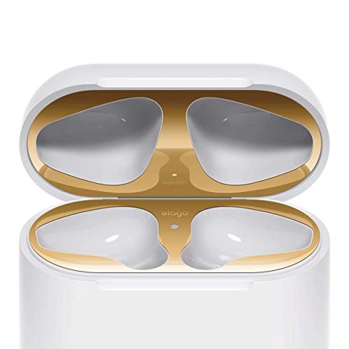 elago Dust Guard for AirPods [Gold][2 Sets] - [18K Gold Plating][Protect AirPods from Iron/Metal Shavings][Luxurious Looking][Must Watch Installation Video]