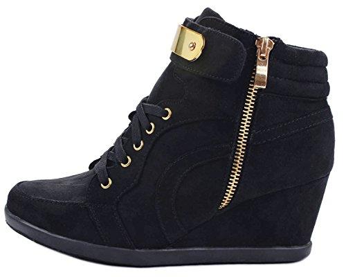 Donna Peggy53 Allacciata In Pelle Scamosciata Finta Dorata Con Cerniera Decoro Stivaletti Sneaker High Top Con Zeppa Nere