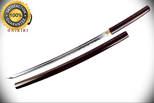 Full Tang Handmade Japanese Sword Samurai Katana with Burgundy Scabbard perfect for cosplay outdoor camping ()