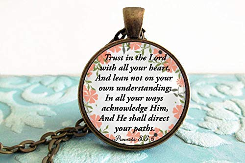 Christian Jewelry for Women- Trust in the Lord with all your heart In all your ways acknowledge Him and He shall. Proverbs 3:5-6- Gifts (In All Your Ways Acknowledge Him And He)