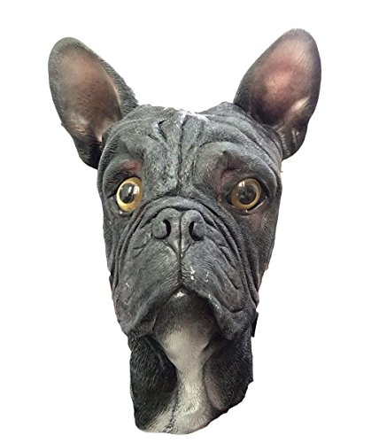 French Bulldog Dog Mask, Full Head, Deluxe Latex Animal Mask, Costume Masks (Black) -