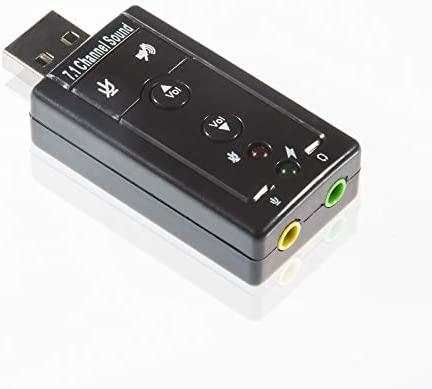 Tarjeta de Sonido Externa Poppstar USB 7.1, Sonido 3D, Sonido Surround, Plugs de 3,5mm, para Auriculares, Alta Voces, micrófonos, Plug and Play