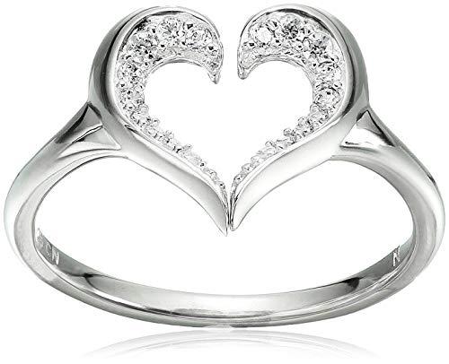 Chamilia Women's Heart Silhouette Ring Swarovski Zirconia, Silver, One Size ()