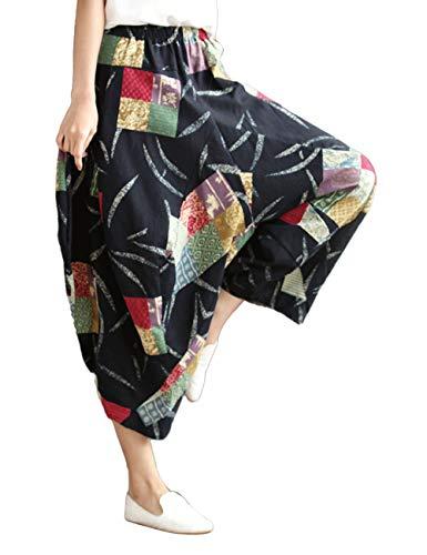 BESBOMIG Yoga Hippie Boho Coton Lin Pantalon - Harem Un Pantalons Loisirs Jambe Large De Plein Air Longue Pantalon Noir 3