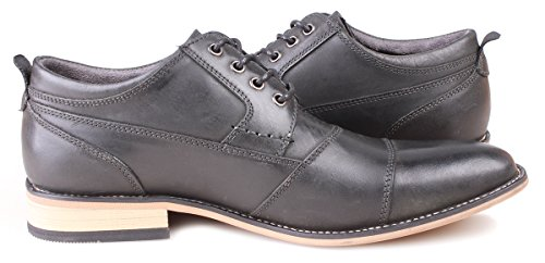 Kunsto Men's Leather Cap Toe Oxford Shoes US Size 12 Dark Grey