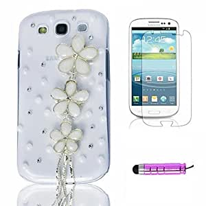 FJM White Pearl Flowers Plastic Phone Shell +HD Film + Mini Stylus 3 in1 for Samsung Galaxy S3 i9300