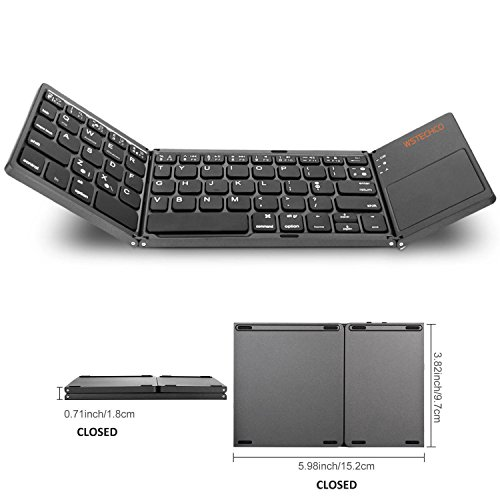 Price comparison product image Folding Bluetooth Keyboard with Touchpad, Portable Wireless Keyboard for Laptop Tablet Samsung Smartphone BT Mini Keyboard Touchpad for Mac, Android, iOS, Travel,  Dark Gray