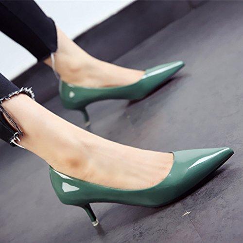zapatos personalidad zapatos e fina damas punta patente primavera y otoño comerciante moda el La FLYRCX tacones de qwRPxUSzS