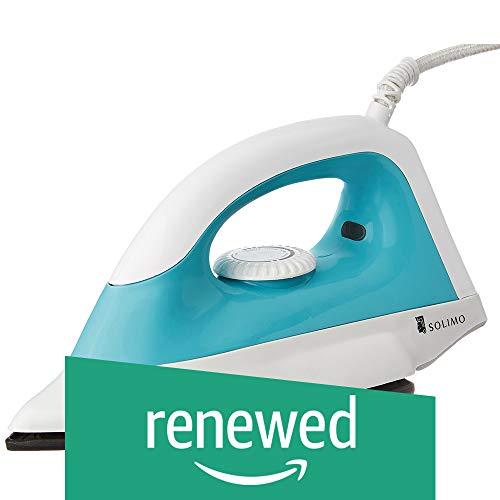 (Renewed) Amazon Brand – Solimo 1000-Watt Dry Iron (White and Turquoise)