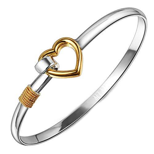 Onefeart Sterling Silver Bracelet Women Girls Sweet Style Gold Love Heart Shape 6.5CM Silver