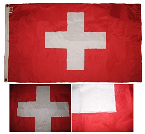 ALBATROS 3 ft x 5 ft Embroidered Sewn Switzerland Swiss 300-D Nylon Flag with Clips for Home and Parades, Official Party, All Weather Indoors Outdoors