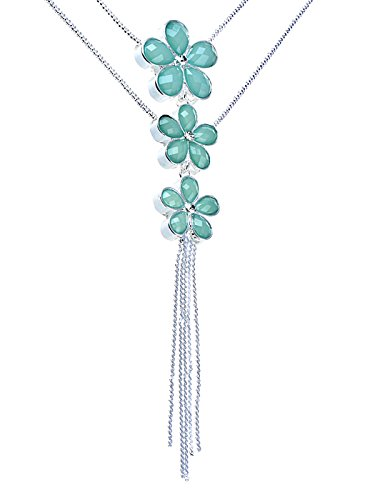 Alilang Light Turquoise Coloured Triple Stacked Daisy Flower Floral Hang Dangle Necklace