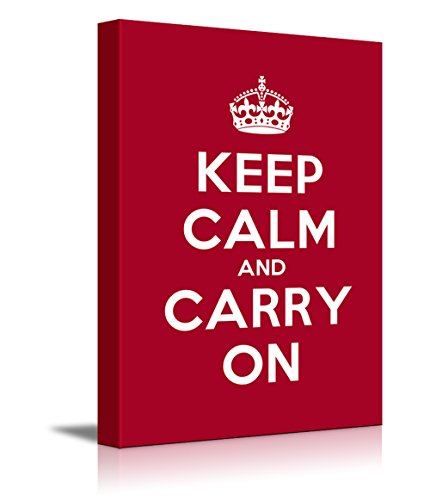 Canvas Wall Art Gallery Wrap Canvas Prints - Keep Calm and Carry On | Stretched Deep Red Canvas Home Decor Ready to Hang - 12