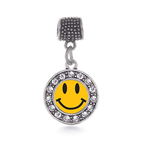 Inspired Silver - Smiley Face Memory Charm for Women - Silver Circle Charm for Bracelet with Cubic Zirconia Jewelry