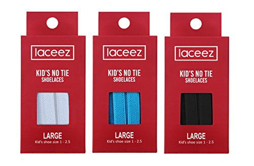 Laceez Kids 3-Packs: (Large: Kids Shoe 1 to 2.5) Black White Blue - Flat Premium No Tie Shoelaces For Casual, Athletic and Lifestyle Sneakers by Laceez