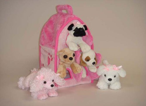 Plush Pink Dog House with Dogs - Five (5) Stuffed Animal Dogs in Pink Play Dog House Case by Unipak