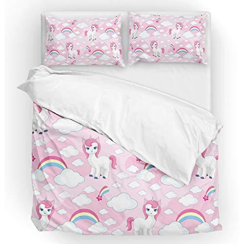 - U LIFE Bedding Duvet Cover Set Full Size 3 Piece Set 1 Quilt Cover and 2 Pillow Cases Shams Pink Unicorn Rainbow for Kid Boy Girl Women Men