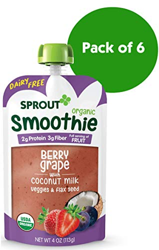 Sprout Organic Toddler Smoothie Pouches, Berry Grape w/ Coconut Milk, 4 Ounce (Pack of -