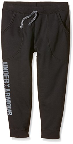 Under Armour Kids Girls' Favorite Fleece Capris (Big Kids), Black LG (14-16 by Under Armour (Image #1)