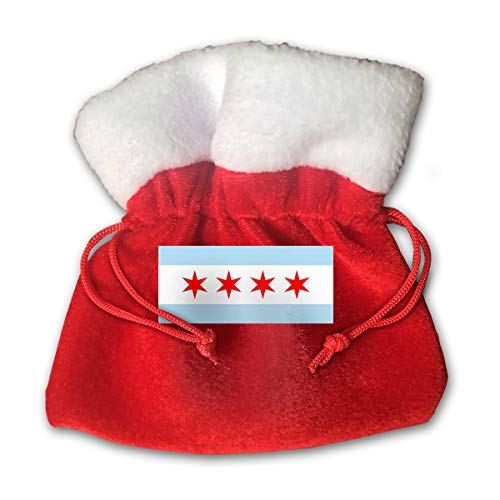 CYINO Personalized Santa Sack,America Chicago City Flag Portable Christmas Drawstring Gift Bag (Red)