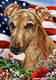 "Greyhound Red Dog – Tamara Burnett Patriotic I Garden Dog Breed Flag 28"" x 40"""