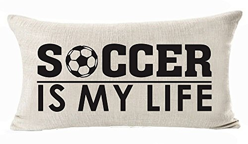 (Sports Series Vintage Soccer Design Soccer Is My Life Cotton Linen Waist Lumbar Pillow Case Cushion Cover Personalized Home Office Decorative Rectangle 12 X 20 Inches)