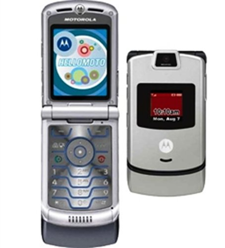 Alltel Motorola RAZR V3m No Contract 3G Camera CDMA Music Flip Silver Cell Phone