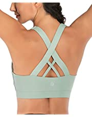 RUNNING GIRL Sports Bra for Women, Criss-Cross Back Padded Strappy Sports Bras Medium Support Yoga Bra with Removable Cups