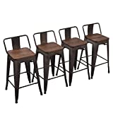 Cheap Yongchuang Metal Counter Height Bar Stool for Indoor-Outdoor(Pack of 4) Wood Top Low Back, 24″