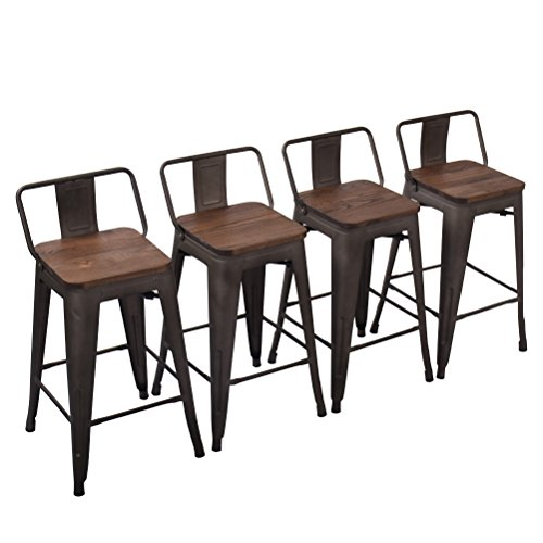 Yongchuang Metal Counter Height Bar Stool for Indoor-Outdoor(Pack of 4) Wood Top Low Back, 24